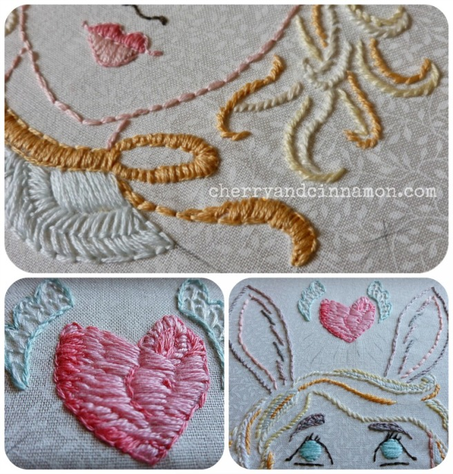Rabbit heart embroidery wip
