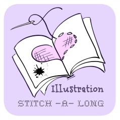 Official Illustration Stitch-a-long badge designed by cherryandcinnamon.