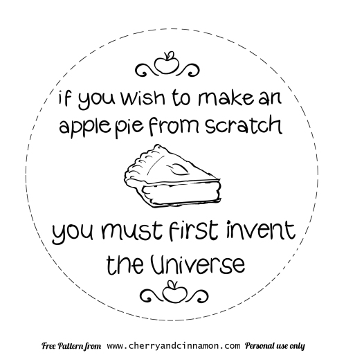 apple pie- Carl Sagan- free embroidery pattern by cherryandcinnamon.com