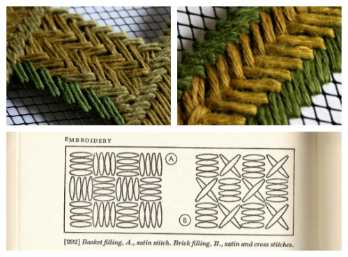 Basket weave stitches-diamond grid