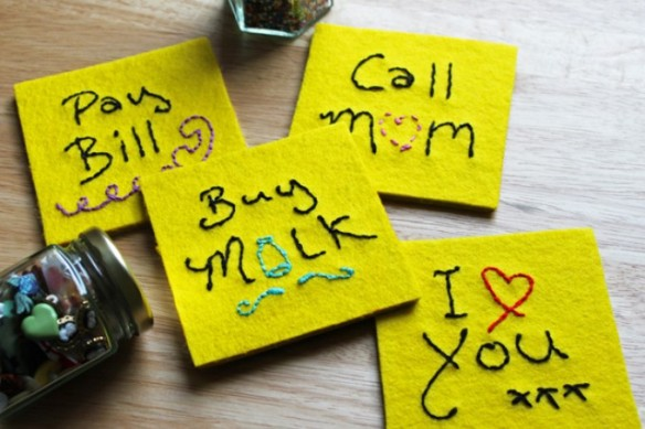 Felt Post-it note coasters by cherry and cinnamon