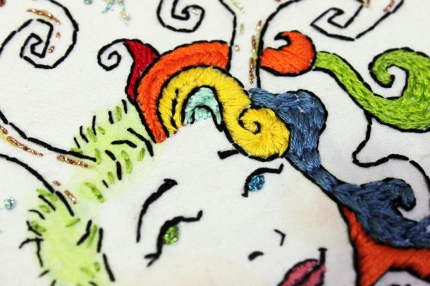 Delirium embroidery wip close up