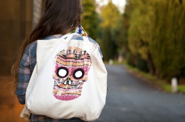 Shisha Mirror Embroidery -skull bag-Bridgeen Gillespie