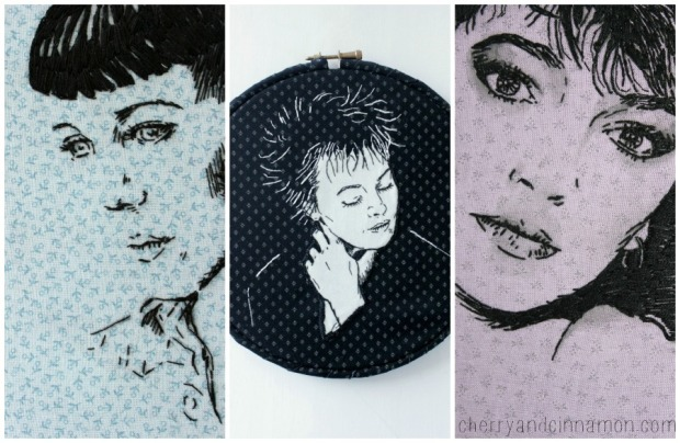 Stitched Album cover portraits  by Bridgeen Gillespiei