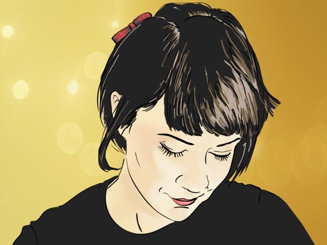 Bridgeen-cherry and cinnamon - self portrait illustration Black hair