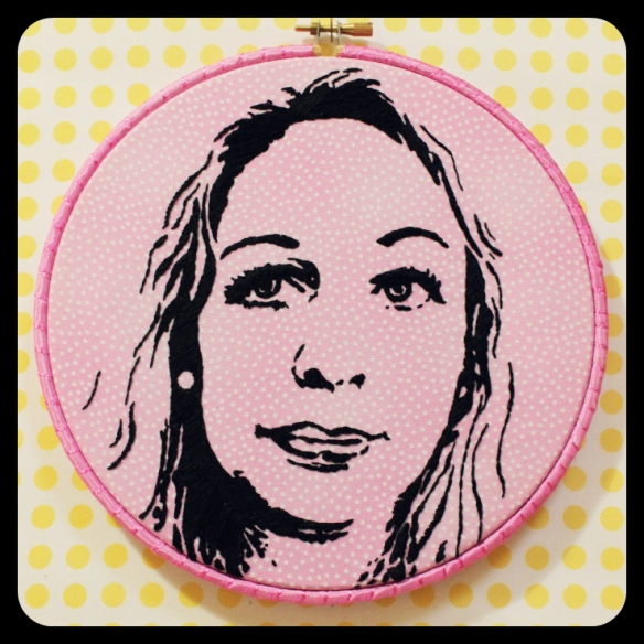 Celine Portrait - hand embroidery by cherry and cinnamon