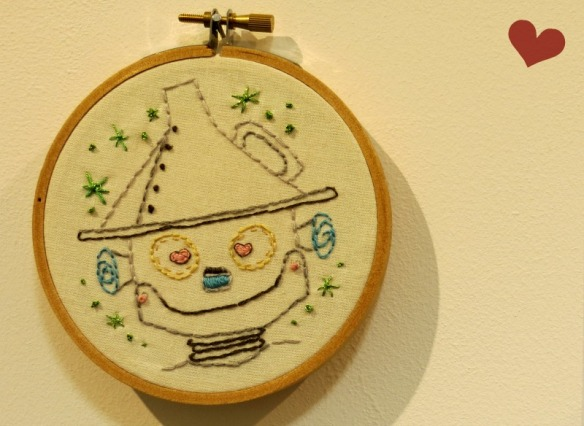 Tin Man embroidery- just one of my Love themed pieces