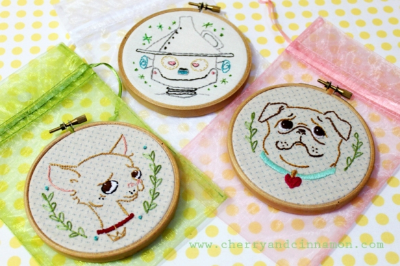mini embroidery hoop art by cherry&cinnamon