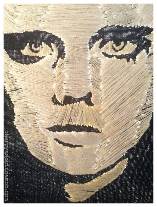 Billy Corgan- embroidery- portrait detail