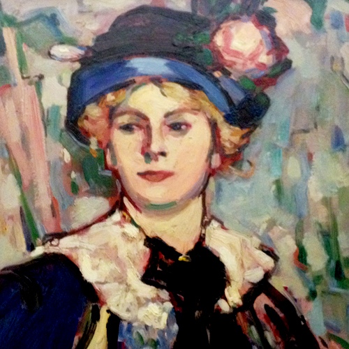 Scottish Colourist painting-lady in a blue hat