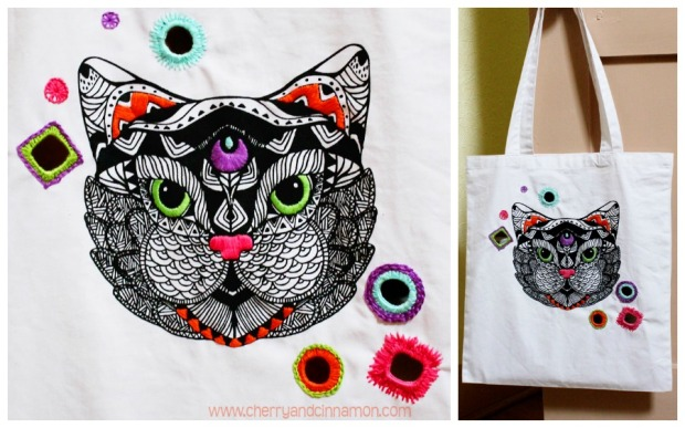 Cat Tote- embroidered bag