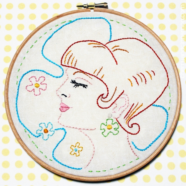 Mod love -60s girl embroidery pattern